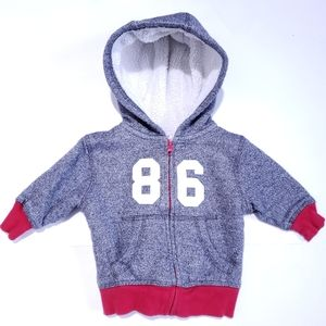 3-6M Sweatshirt Sherpa Lined Grey and Red